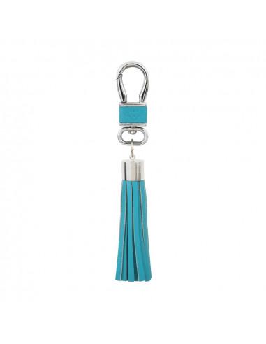 Porte clés en cuir avec pompon turquoise