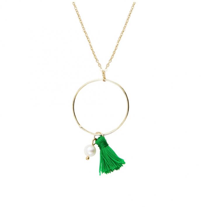 Collier un anneau pompon vert anis et perle