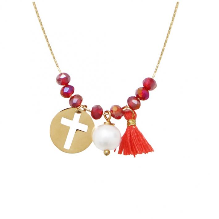 Collier perles cristal rouge rubis et pampilles médaille Croix, pompon et perle de culture sur acier doré