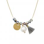 Collier perles cristal argenté et pampilles LOVE, pompon et perle de culture sur acier doré