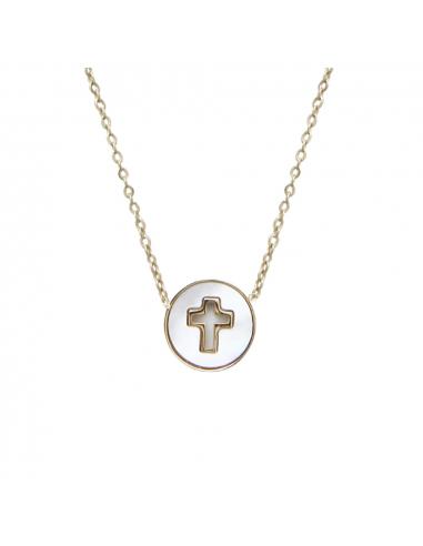Collier médaille croix sertie évidée sur nacre d'eau de mer