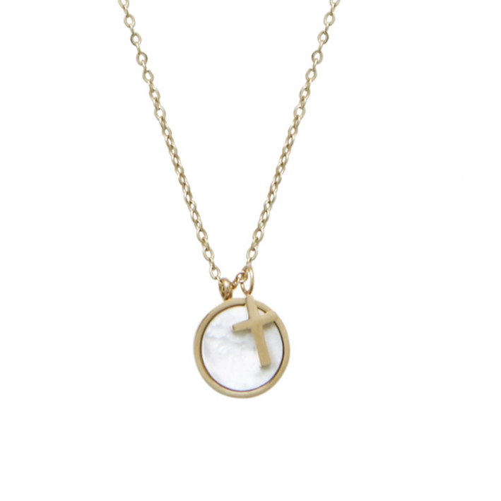 Collier médaille nacre d'eau de mer et pampille coeur sur plaqué or