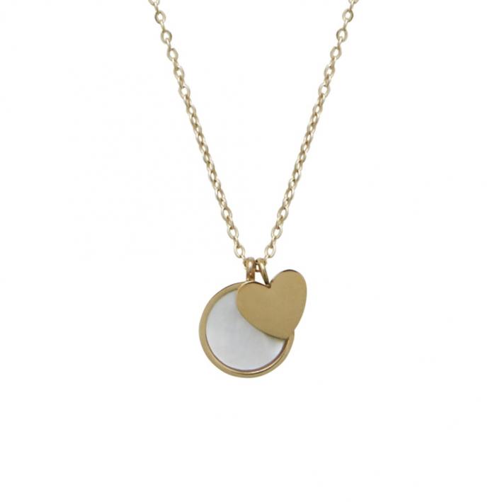 Collier médaille nacre d'eau de mer et pampille croix sur plaqué or