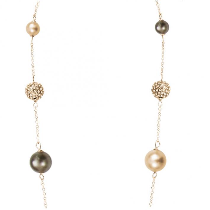 Sautoir perles de nacre et shamballas déclinaison de dorés
