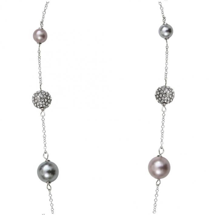 Sautoir perles de nacre et shamballas déclinaison de rose et d'argenté