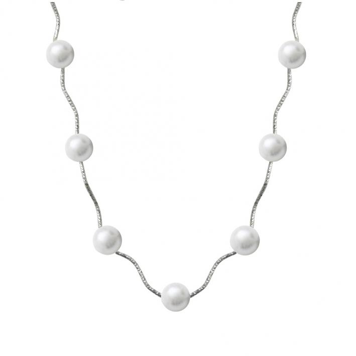 Sautoir perles de nacre blanche sur tubes en métal ciselé