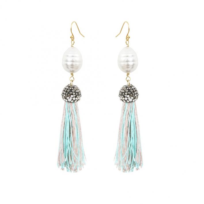 Boucles d'oreilles longues pompons turquoise, strass et perles