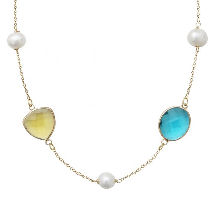 Collier éclats de cristal scintillants et perles sur doré