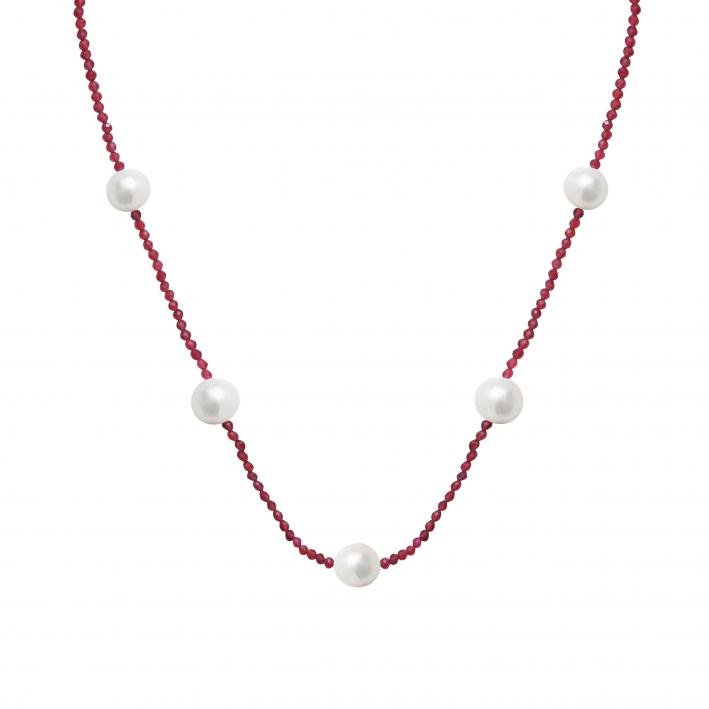 Collier cristal étincelant rose rubis et perles