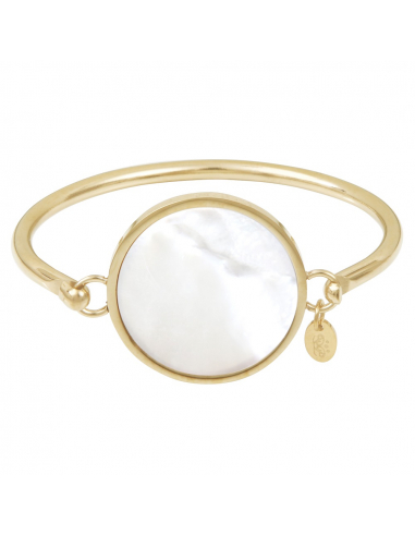 Bracelet jonc splendide médaille de nacre sur acier doré