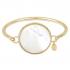Bracelet jonc splendide médaille de nacre d'eau de mer sur acier doré