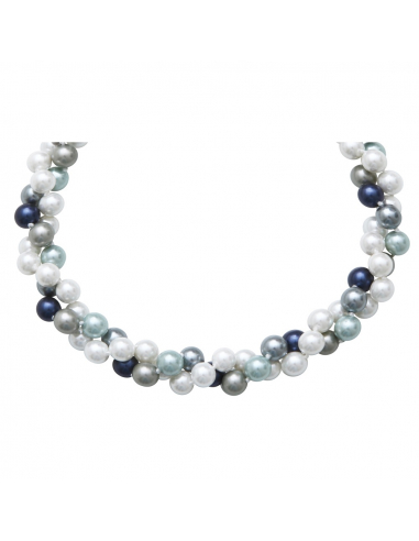 Collier double rangs perles de nacre camaïeu de bleus