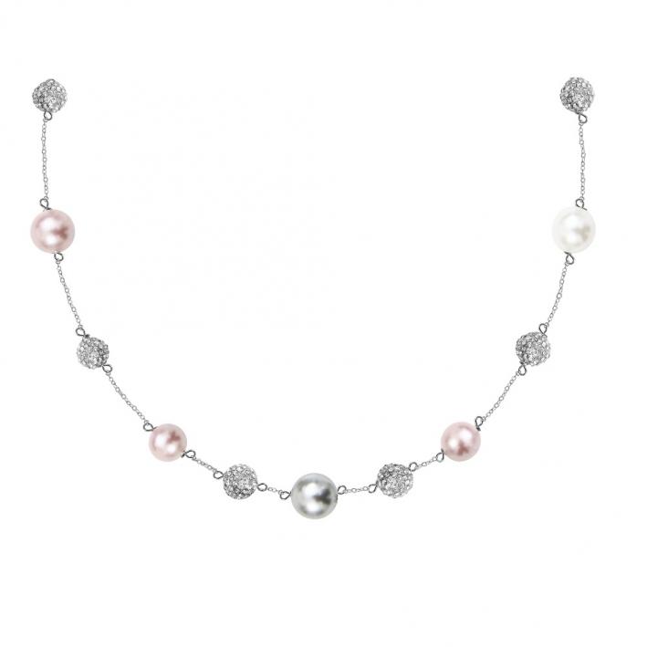 Collier perles de nacre et shamballas en déclinaison d'argentés