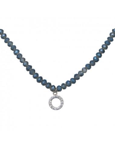 Collier élastique ras le cou cristal bleu et anneau strass blanc