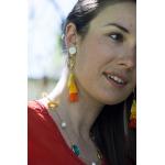 Boucles d'oreilles clip trio de pompons orangés et cristal