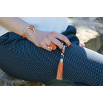 Bague multi rangs élastique orange et duo de perles de nacre
