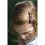 Barrette cheveux enfant pince ruban marron à pois blancs
