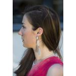 Boucles d'oreilles filigrane de nacre et pompons argentés