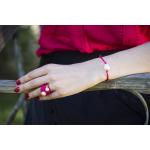 Bracelet une perle sur cordon satiné rose