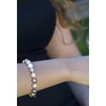 Bracelet double rangs perles de nacre camaïeu de roses