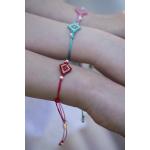 Bracelet losange de rocailles rouges et perles