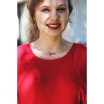 Collier perles cristal rouge rubis et pampilles sur acier doré