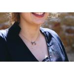 Collier perles cristal argenté et pampilles sur acier doré