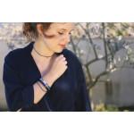 Collier élastique ras le cou bleu et anneau strass blanc