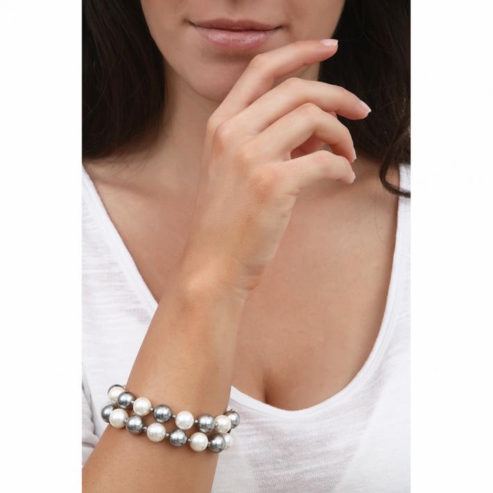 Bracelet double rang perles nacre bicolore et hématite