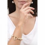 Bracelet perles nacre blanche couronnées de doré