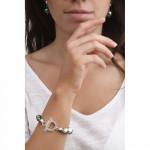 Bracelet perles nacre noire couronnées d'argenté