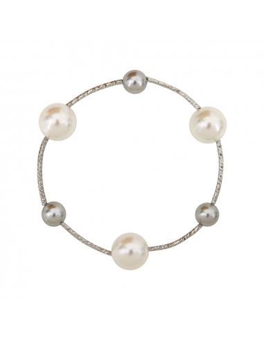 Bracelet perles nacre argentée et blanche sur tubes