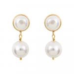 Boucles d'oreilles clips perles nacre blanche ronde