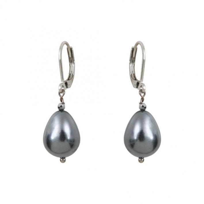 Boucles d'oreilles perles nacre gouttes noires et hématite