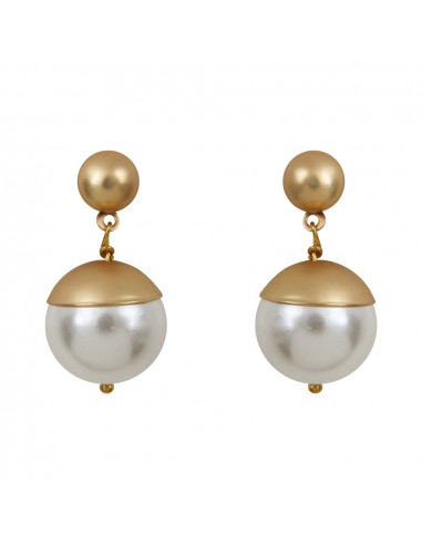 Boucles d'oreilles perles nacre blanche couronnées dorées