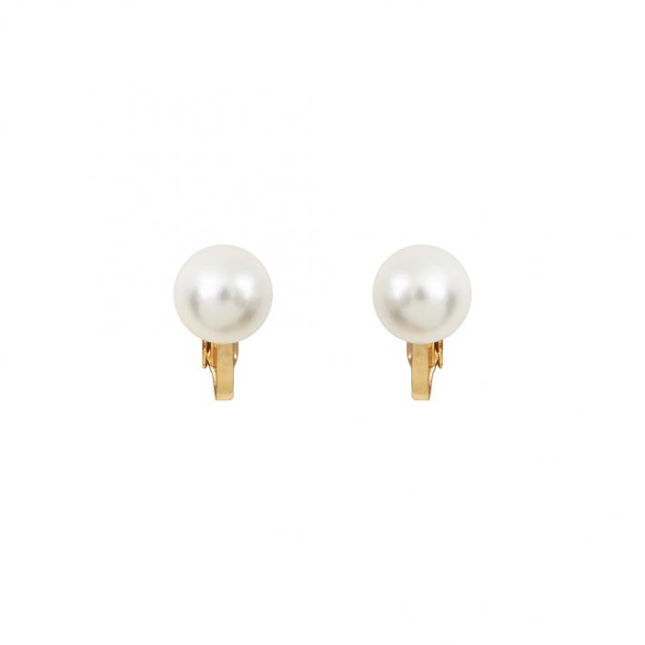 Boucles d'oreilles clip Perle nacre blanche sur tige dorée