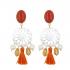 Boucles d'oreilles clips filigrane de nacre pampilles et pompon rouge