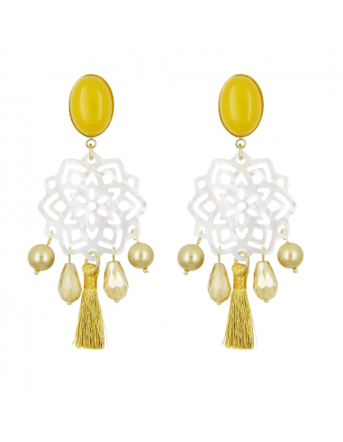 Boucles d'oreilles clips filigrane de nacre pampilles et pompon jaune