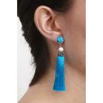 Boucles d'oreilles clips Pierre turquoise et pompon bleu