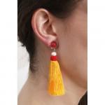 Boucles d'oreilles clips quartz rose et pompon rose