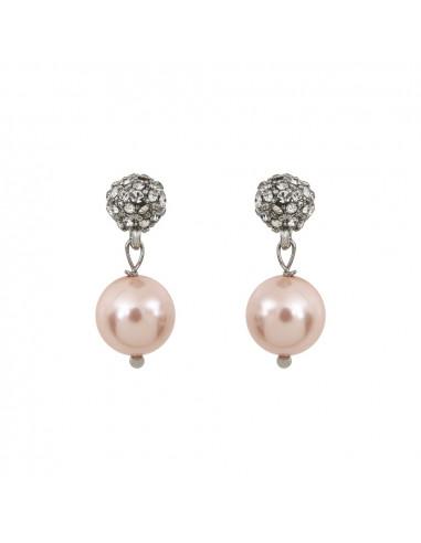Boucles d'oreilles shamballas et perles nacre roses