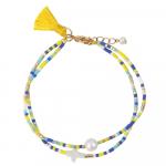 Bracelet perles de rocailles et croix nacre blanche