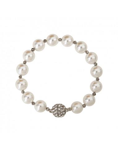 Bracelet perles de nacre blanche et fermoir shamballa