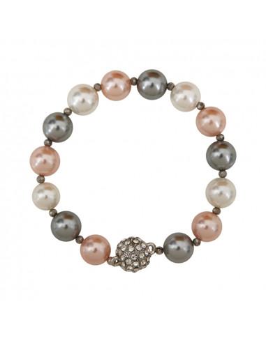 Bracelet perles nacre bicolore et fermoir shamballa