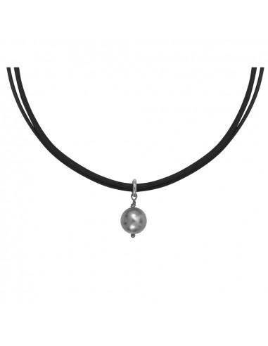 Collier perle nacre argentée sur double cordon noir