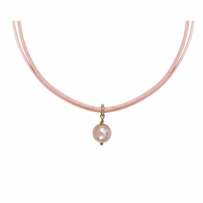 Collier perle nacre rose sur double cordon rose