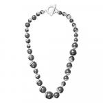 Collier perles nacre noire couronnées d'argenté