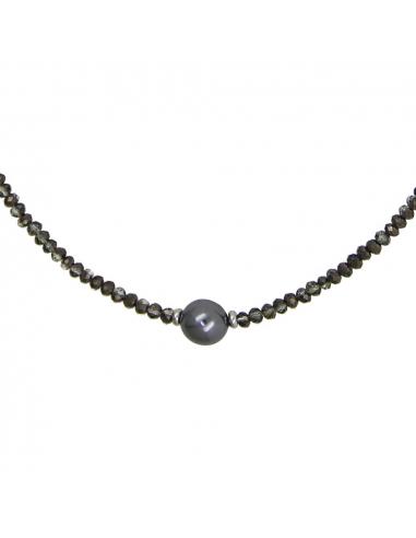 Collier cristal anthracite et perle noire