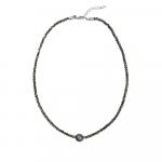 Collier choker cristal anthracite et perle noire