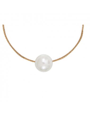 Collier grosse perle nacre blanche sur chaîne dorée